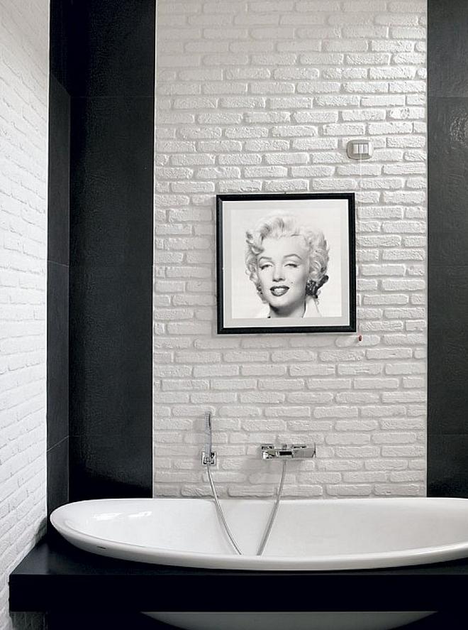 Il bagno rinnovare con la pietra - Rivestimento bagno bianco ...