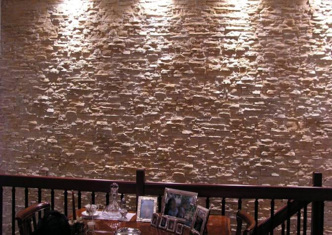 Effetto della luce su parete rivestita con Petra