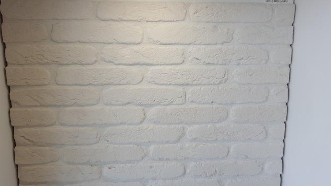 effetto vintage, listello primiceri, pietra ricostruita da rivestimento, listelli, mattoncini bianchi, white brick,