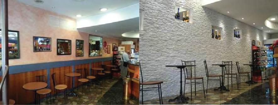 Un bar in petra bianco restyling locale commerciale for Arredare un bar con pochi soldi
