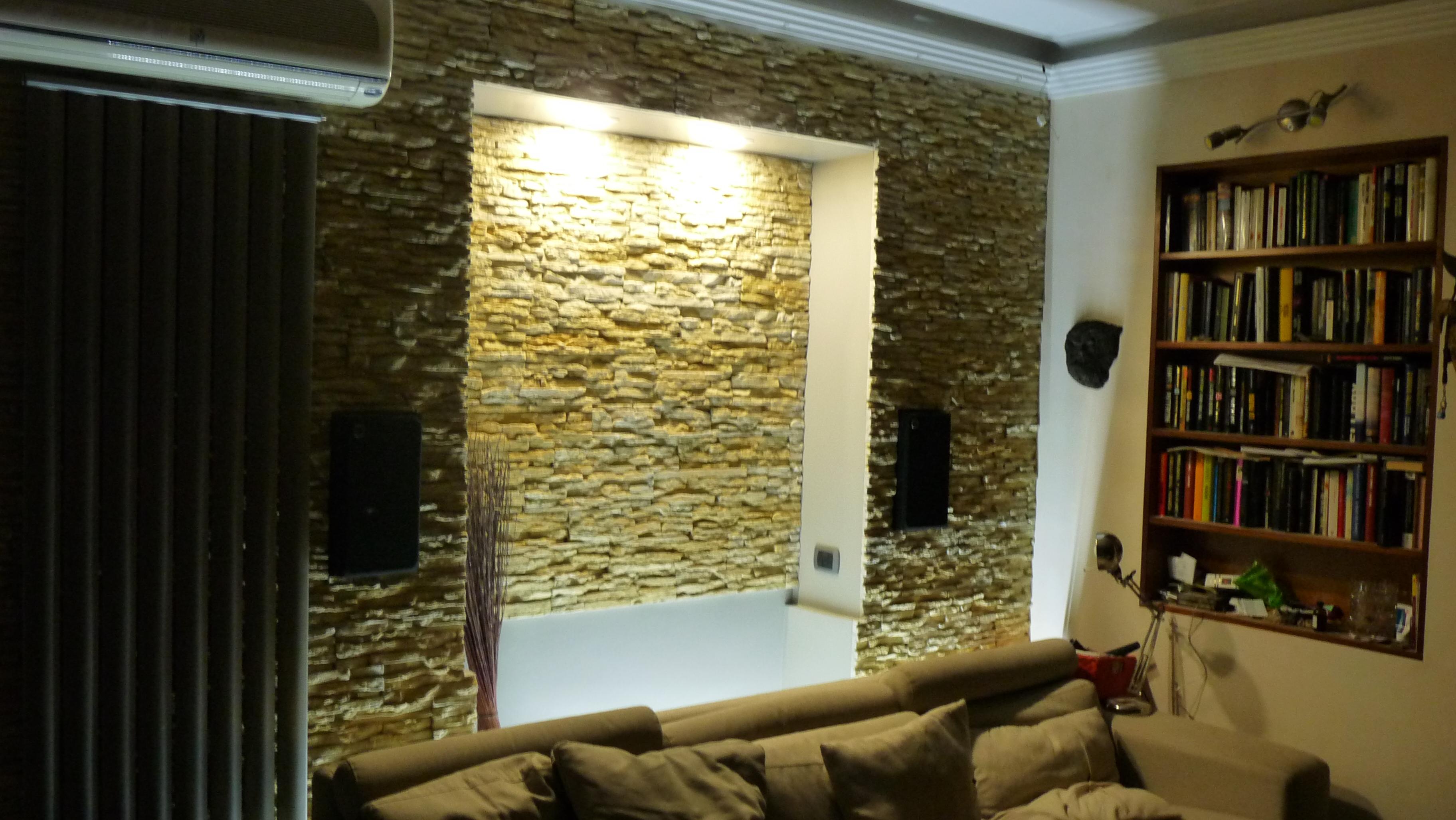 Parete In Pietra Su Cartongesso: Parete in pietra finta o vera soggiorno camera da letto con ...